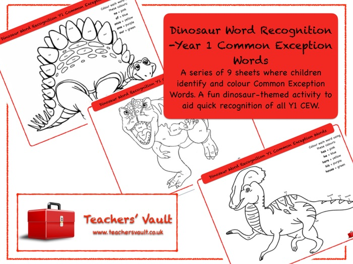 Dinosaur Word Recognition -Year 1 Common Exception Words