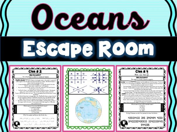 Oceans ESCAPE ROOM! NO PREP, PRINT & GO!