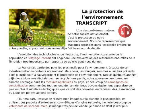La protection de l'environnement (environment) - French Listening Revision and Transcript