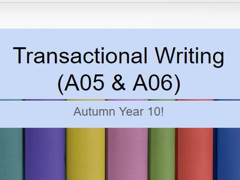 Edexcel Entry Level English Transactional Writing  (A05 & A06) Scheme Of  Work & Resources