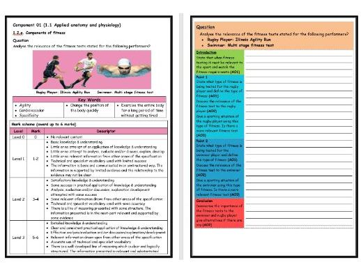 GCSE PE - OCR (9-1) - Structure Strip - Fitness Testing 2 - Extended Question Worksheet