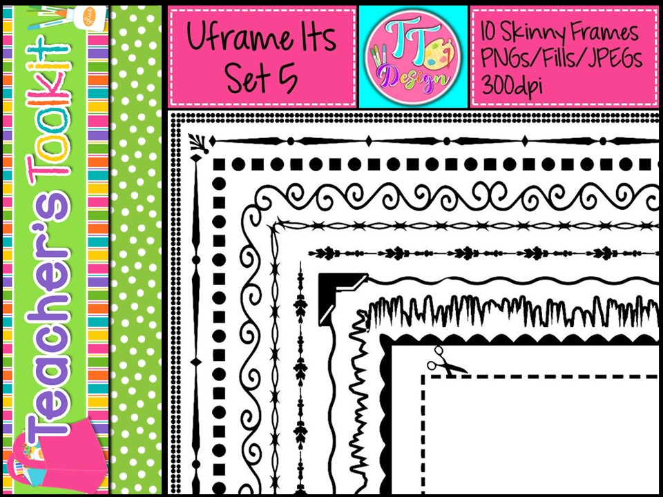 'UFrame Its' Set 5 Skinny Worksheet Frames Borders Clip Art CU OK