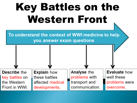 Key battles on the Western Front (GCSE 9-1 Medicine Historic Environment) 2 LESSONS!