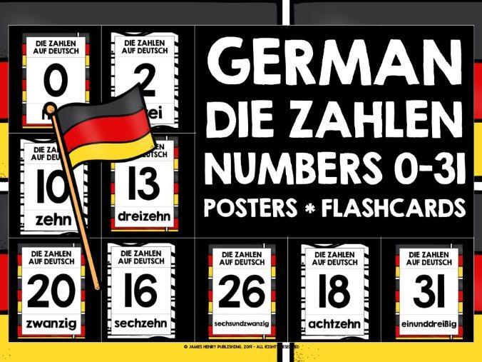 GERMAN NUMBERS 0-31 POSTERS FLASHCARDS
