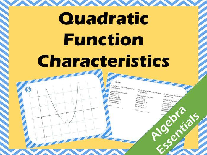 Quadratic Function Scavenger Hunt - Vertex, Domain, Range, Intervals of Increase/Decrease