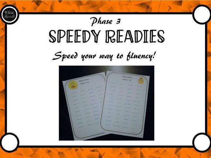 Phase 3 Speedy Readies! Phonics Fluency Practice