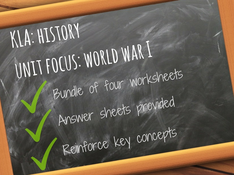 World War One WWI - Unit Vocabulary - 4x Worksheets with answer key