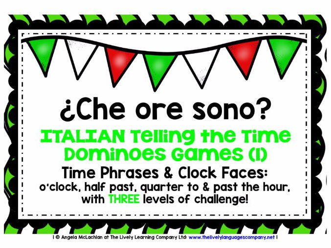 ITALIAN TELLING THE TIME (1) - 3 DIFFERENTIATED DOMINOES GAMES