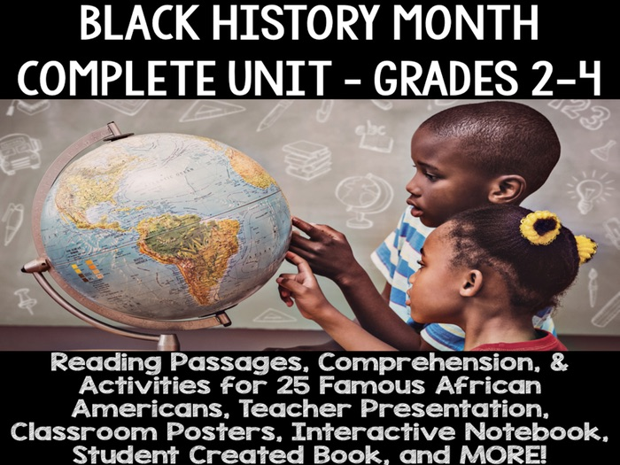 African American Black History Month - Unit for the Whole Month- Grades 2, 3, 4