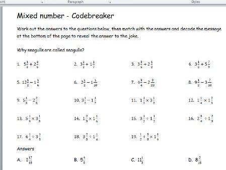 Mixed number code breaker