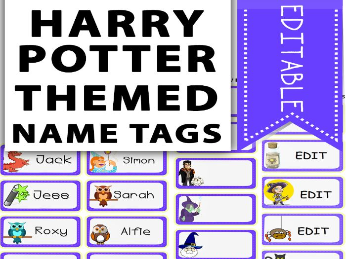 Harry Potter Themed Name Tags
