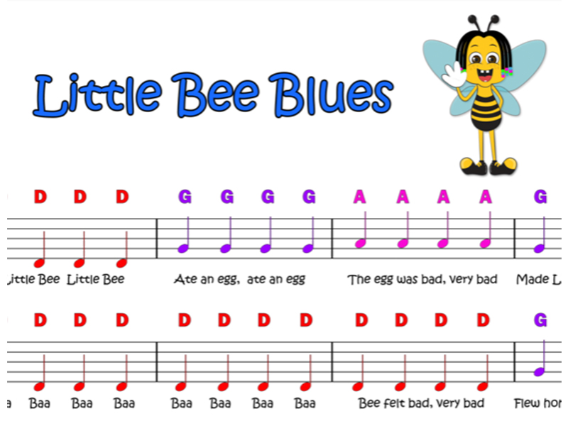 The Little Bee Blues - Easy Piano Score (Notes on Stave)