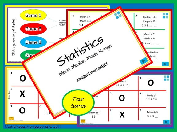 Statistics Mean Median Mode Range Noughts and Crosses PowerPoint Games