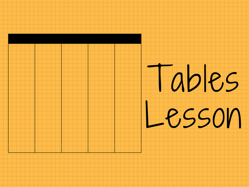 Year 4 Tables Lesson