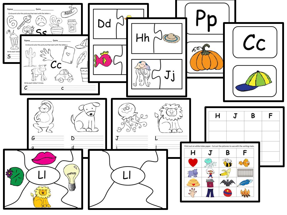 Beginning Consonant Sounds - Worksheets, Literacy Centers, Activities