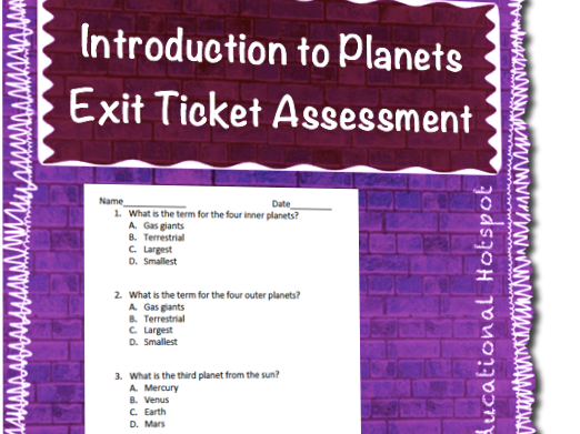 Introduction to Planets Exit Ticket Assessment