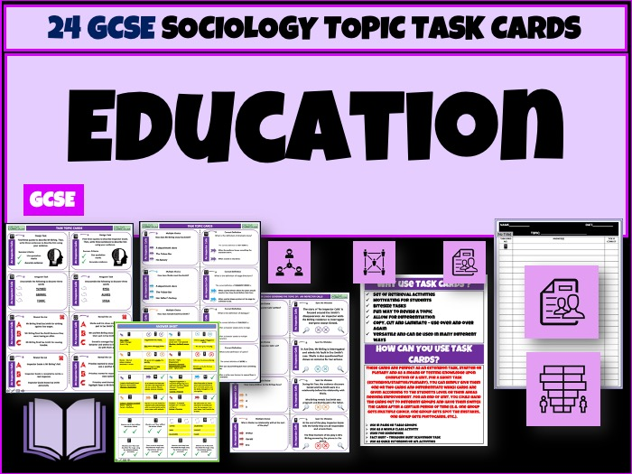 Education GCSE Sociology Task Cards