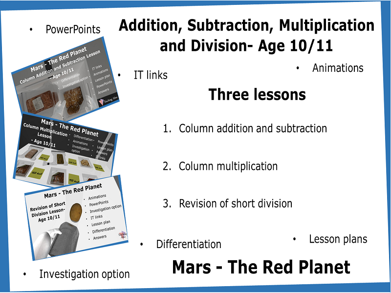 Age 10/11 Addition, Subtraction, Multiplication and Division - Three Lessons