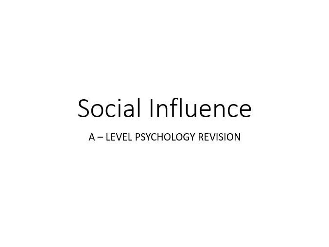 Social Influence - Psychology AS + A LEVEL Revision Cards
