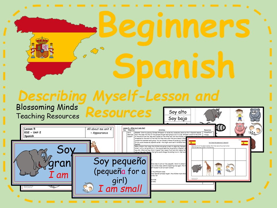 Spanish lesson and resources - KS2 - Describing myself