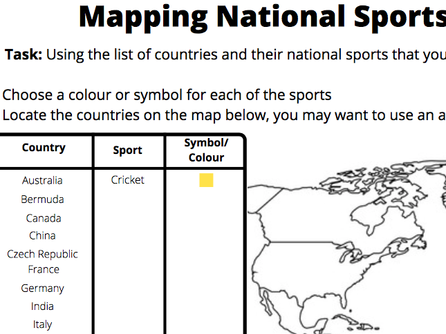 Mapping Sports Worksheets - Geography of Sport