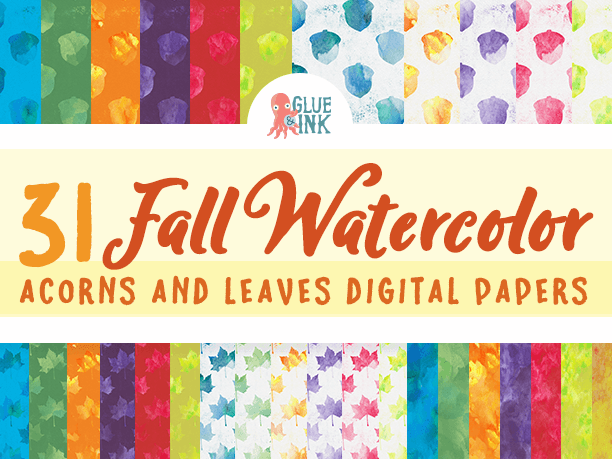 Fall Watercolor {Acorns & Leaves} Digital Paper – Commercial Use