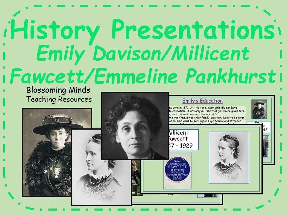 Suffragettes Presentations bundle (KS3/KS4) - Millicent Fawcett/Emily Davison/Emmeline Pankhurst