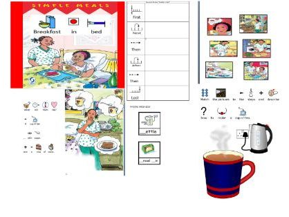 ''Breakfast in Bed'' story and activities, widgit symbolised