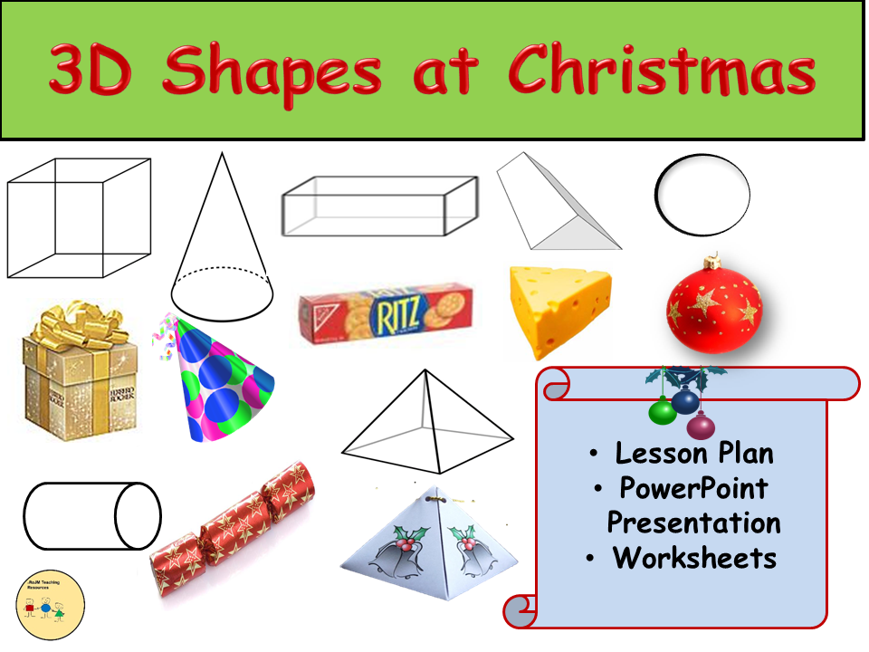 3D Shapes Christmas Theme - Presentation, Lesson Plan and Worksheet Activities