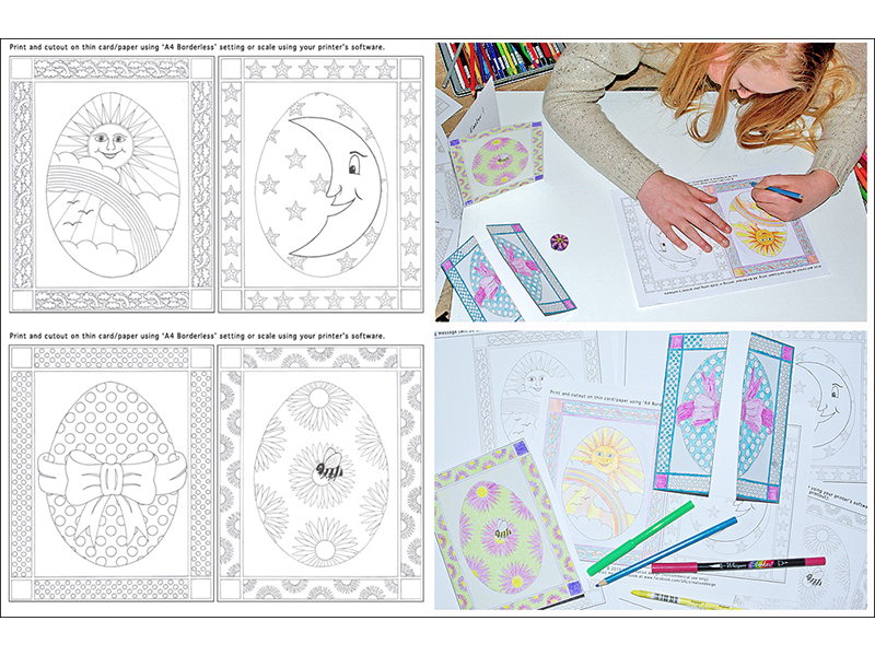Free Easter Cards for print/colouring