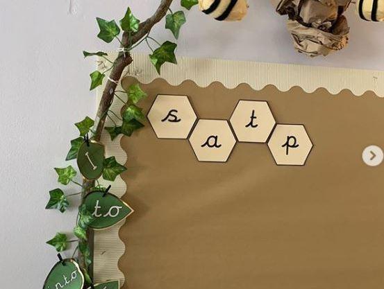 Hexagon alphabet letters phonics display