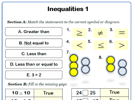 Inequality Symbols Maths Worksheet and Answers