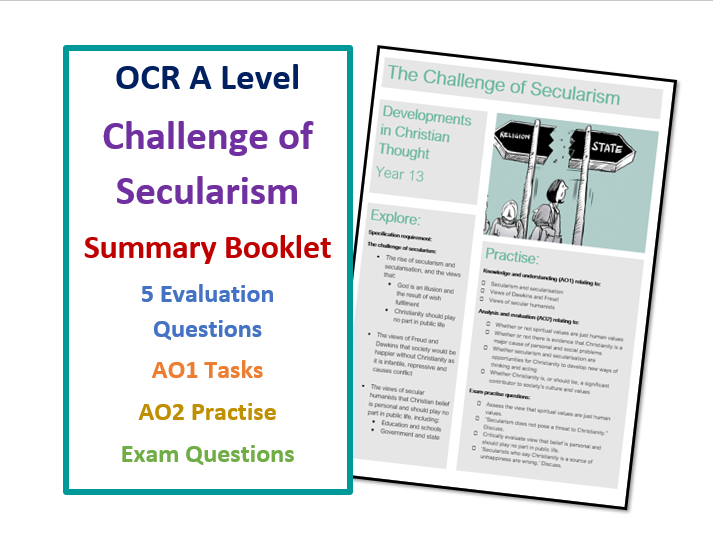 A Level RS: Challenge of Secularism - Lesson Summary Booklet for Revision and Home-Learning