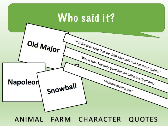 FREE Animal Farm Card Sort - Character Quotes