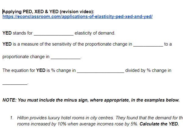 YED, PED, XED: A-level Economics worksheet