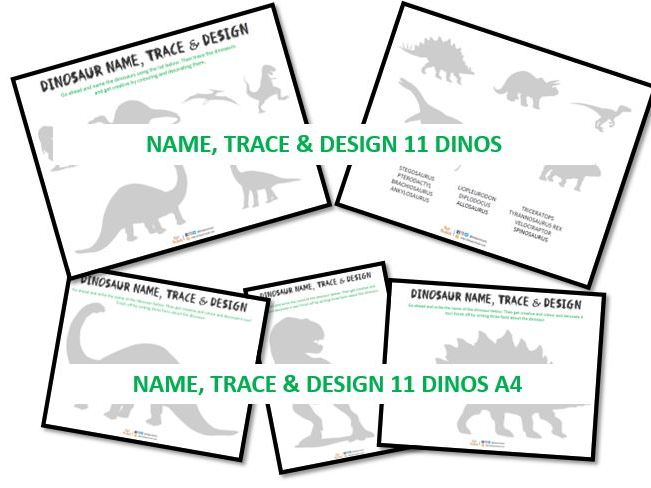 Dinosaur name, trace & design activity 2 (with individual dinosaurs on A4)