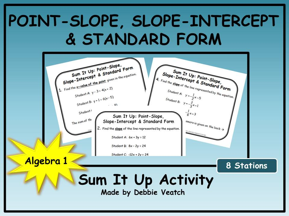 Point Slope Slope Intercept Standard Form Sum It Up Activity By