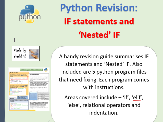 Python revision - IF and 'Nested' IF statements