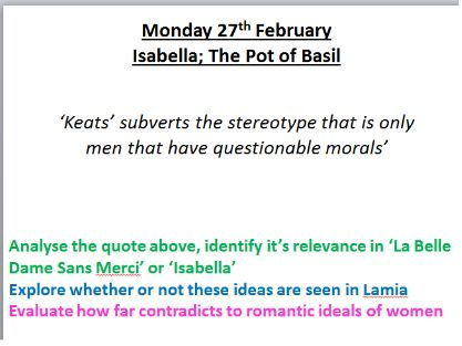 Keats Poetry - AQA Aspects of Tragedy - Isabella; A Pot of Basil