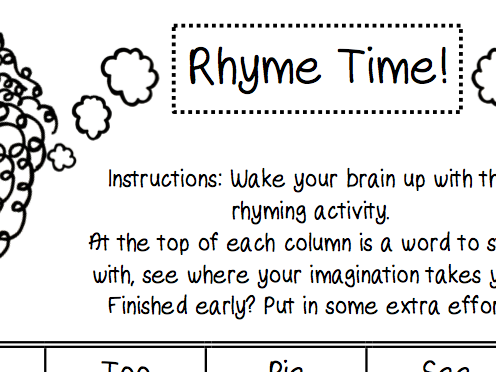 Rhyme Time Starter/Plenary