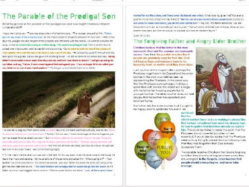 Parable of the Prodigal Son: Differentiated Activity Sheets