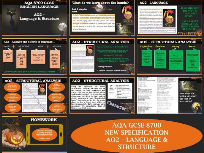 AQA 8700/1 GCSE English Language - AO2 - Language & Structure - Hocus Pocus Edition