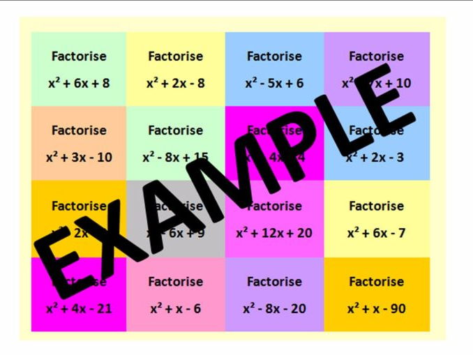 Factorising Double Brackets - Including Questions and Catchphrase activities