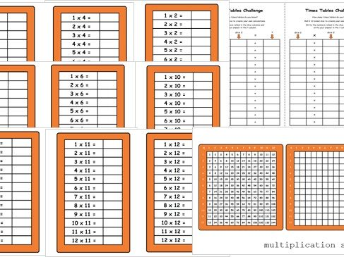 Year 3 - 4 Maths Resources - Multiplication Square, Times Tables Practice Cards, Dice Games