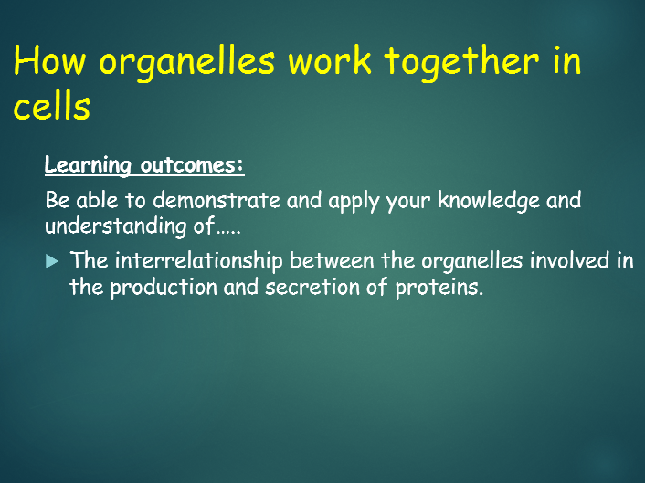 OCR A level Biology (H020 - from 2015) 2.1.1 How organelles work together