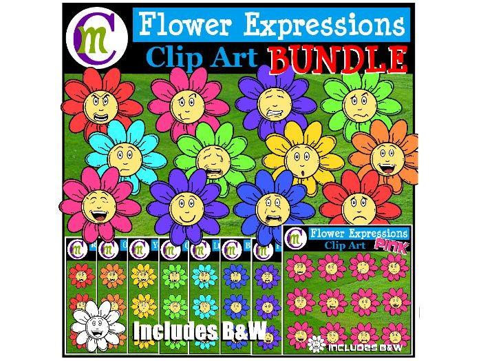 Flower Emotions Clipart BUNDLE