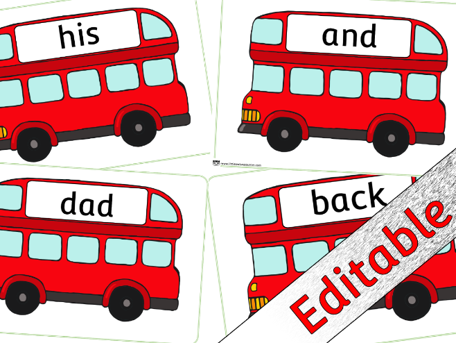 Phase 2 Words - Bus theme - Editable