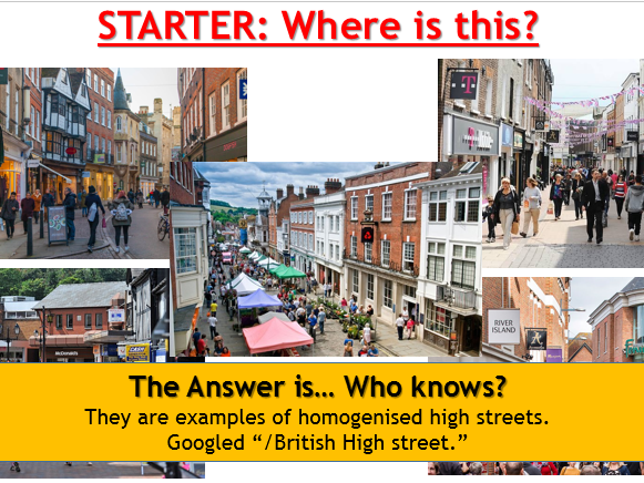 AQA Changing places - L8 Clone Towns (Lesson and Resources)