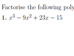 Factorising cubic polynomials worksheet (with solutions)