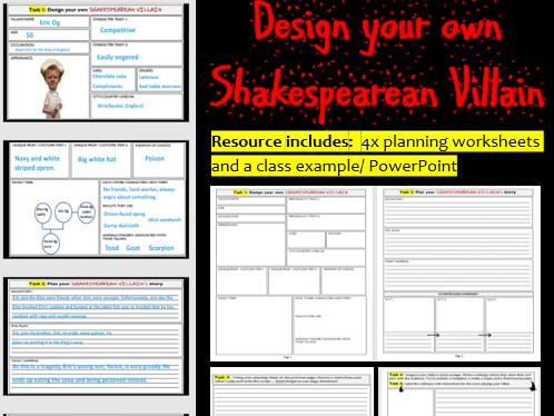 Design your own Shakespearean Villain (Worksheets)
